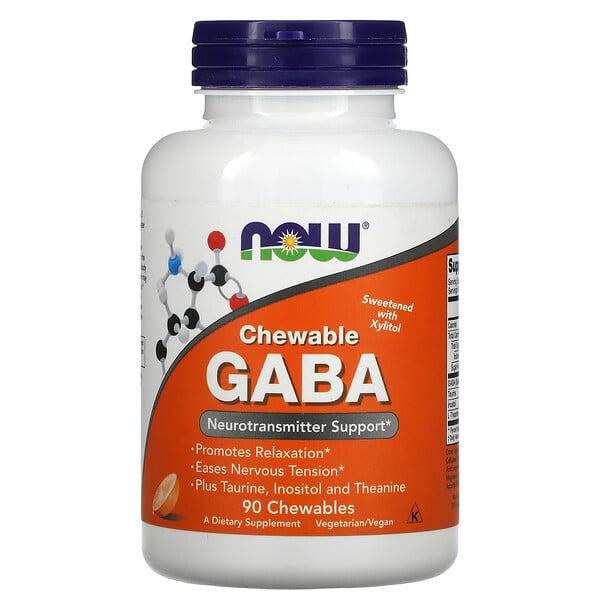 GABA، للمضغ، نكهة البرتقال الطبيعي، 90 حبة للمضغ