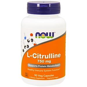 Now Foods, L-シトルリン、750 mg、ベジカプセル 90錠