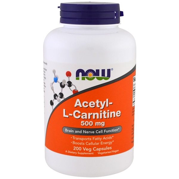 Now Foods, Acetyl-L-Carnitine, 500 mg, 200 Veg Capsules