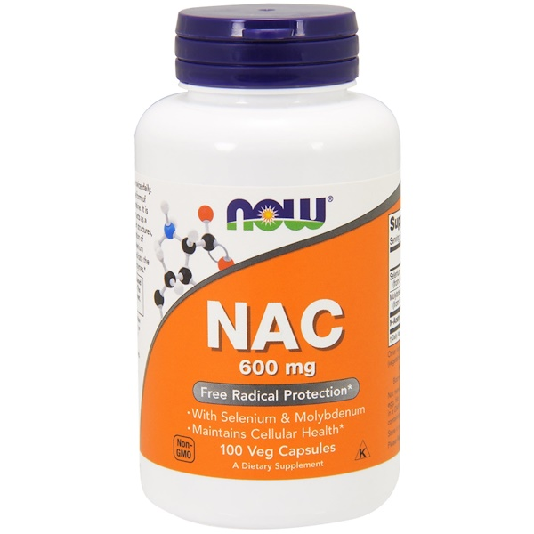 Now Foods, NAC, 600 mg, 100 Cápsulas Vegetais