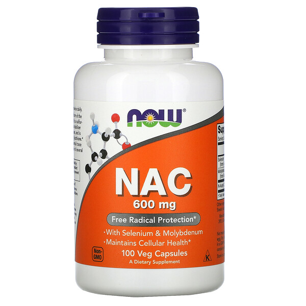 Now Foods, NAC, 600 mg, 100 cápsulas vegetarianas