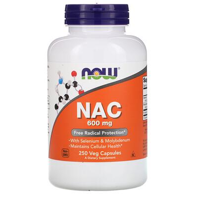 Now Foods NAC (N-ацетилцистеин), 600мг, 250растительных капсул