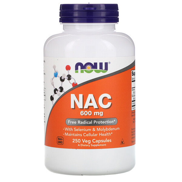Now Foods, NAC, 600 mg, 250 cápsulas vegetales