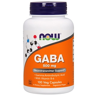 Now Foods, GABA, 500 mg, 100 베지 캡슐.
