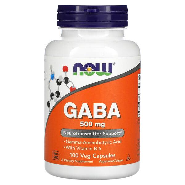 Now Foods, ГАМК с витаминомB6, 500мг, 100вегетарианских капсул