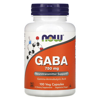 Now Foods, حمض جاما أمينوبيوتيريك مع فيتامين ب-6، 750 ملجم، 100 كبسولة نباتية