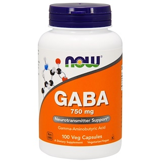Now Foods, GABA, 750 mg, 100 Cápsulas Vegetarianas