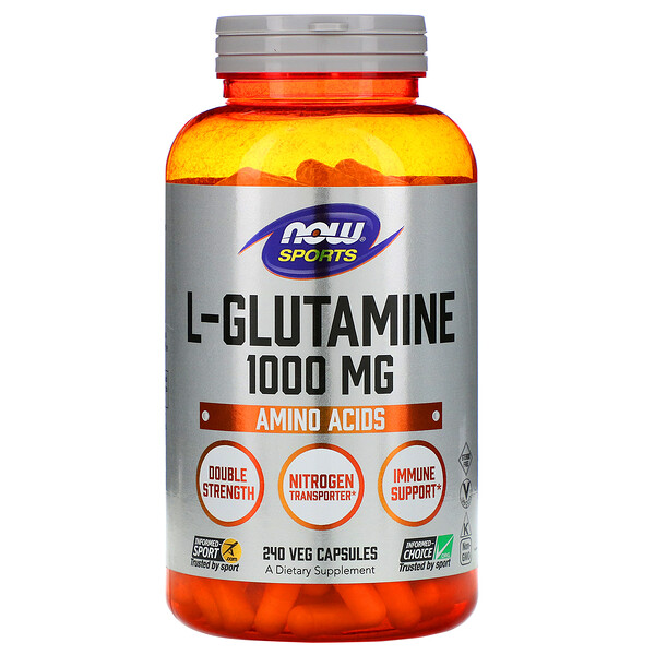 Now Foods, Sports, L-Glutamine, 1,000 mg, 240 Veg Capsules