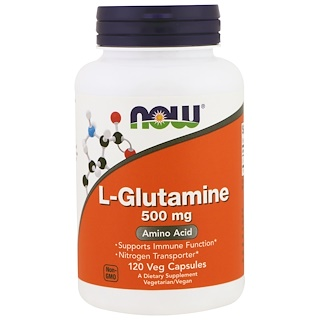 Now Foods, L-Glutamina, 500 mg, 120 cápsulas vegetales