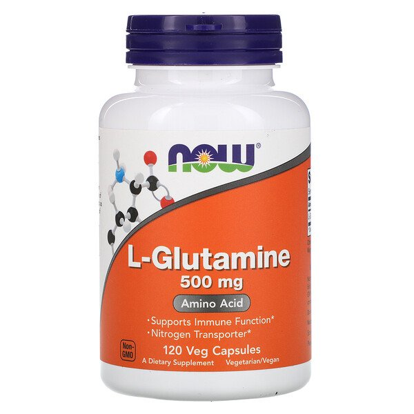 Now Foods, L-glutamina, 500 mg, 120 cápsulas vegetales