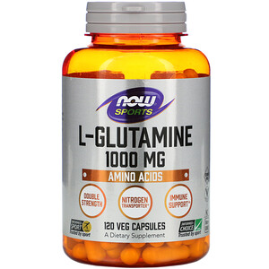 Now Foods, L-Glutamine, Double Strength, 1,000 mg, 120 Veg Capsules отзывы покупателей