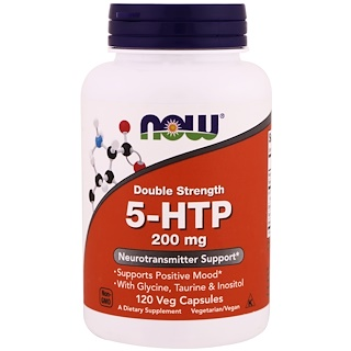 Now Foods, 5-HTP, Double Strength, 200 mg, 120 Veg Capsules
