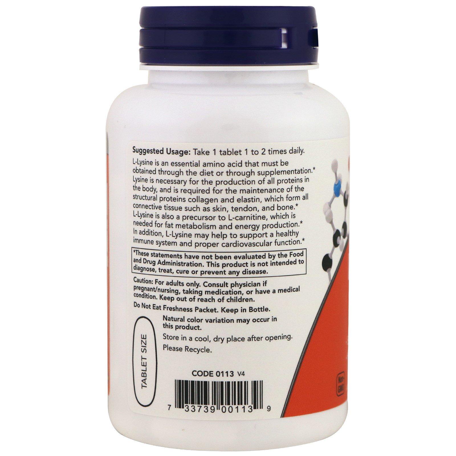 Now Foods, L-Lysine, 1,000 mg, 100 Tablets - iHerb com