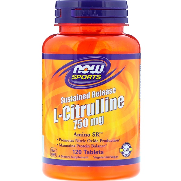 Now Foods, Sports, L-Citrulline, Sustained Release, 750 mg, 120 Tablets (Discontinued Item)