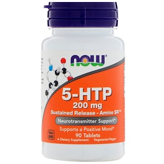 Now Foods, 5-HTP, Sustained Release - Amino SR, 200 mg , 90 Tablets
