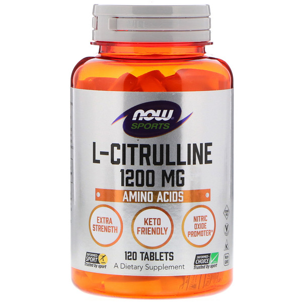 Now Foods, L-citrulina, 1200 mg, 120 tabletas