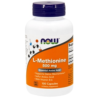 Now Foods, L-Méthionine, 500 mg, 100 Capsules
