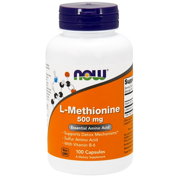 Now Foods, L-Metionina, 500 mg, 100 cápsulas