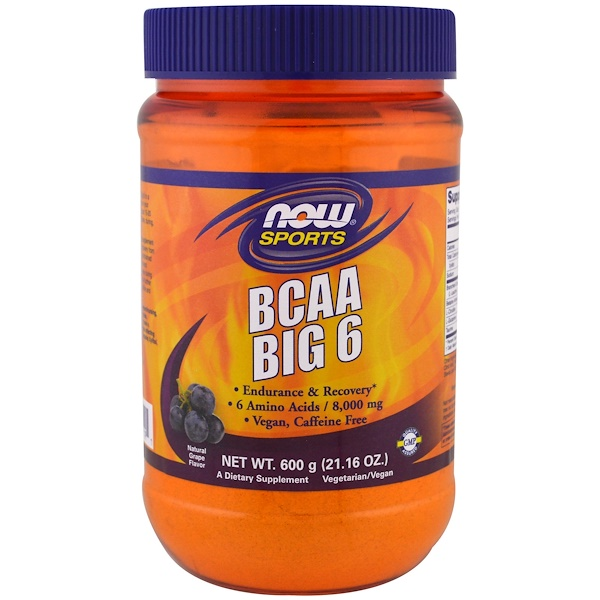 Now Foods, Sports, BCAA Big 6, Natural Grape Flavor, 1.3 lbs (600 g)