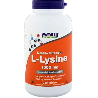 Now Foods, L-Lysine, 1000 mg, 250 Tablets