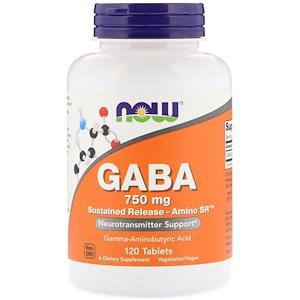 Now Foods, GABA, 750 mg, 120 Tablets отзывы покупателей