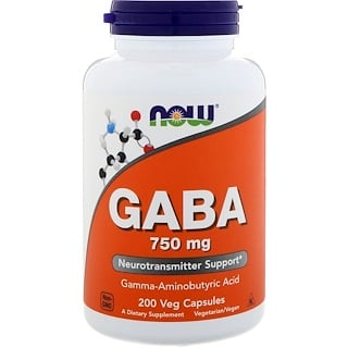 Now Foods, GABA, 750 mg, 200 Cápsulas vegetales