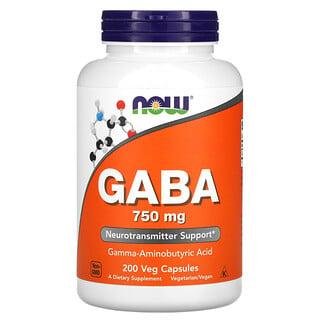 Now Foods, حمض جاما-أمينوبيوتيريك (GABA)، 750 ملجم، 200 كبسولة نباتية