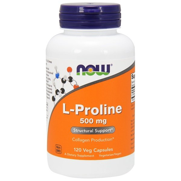 Now Foods, L-prolina, 500 mg, 120 cápsulas vegetarianas
