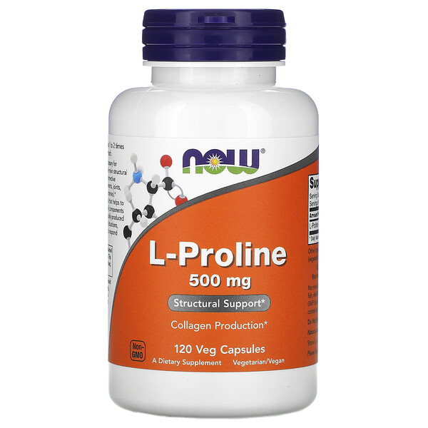 Now Foods, L-proline, 500 mg, 120 capsules végétariennes