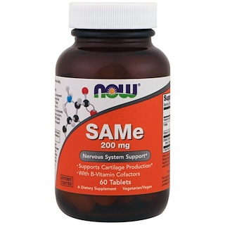 Now Foods, SAMe, 200 mg, 60 Tablets