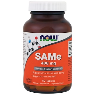 Now Foods, SAMe, 400 mg, 60 Tablets