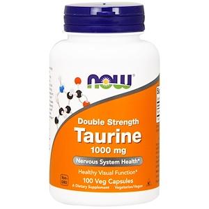 Now Foods, Таурин, двойная сила, 1000 мг, 100 растительных капсул