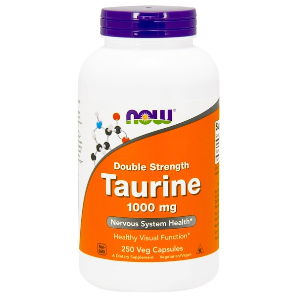 Now Foods, Taurina, doble potencia, 1,000 mg, 250 cápsulas vegetarianas