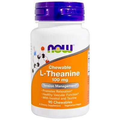 Купить Now Foods L-теанин, 100 мг, 90 жевательных таблеток