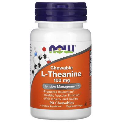 Купить Now Foods L-теанин в жевательных таблетках, 100 мг, 90 жевательных таблеток