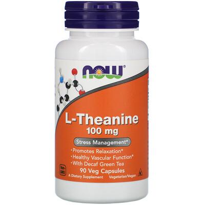 Купить Now Foods L-теанин, 100мг, 90растительных капсул