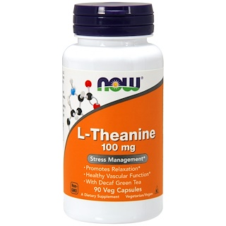 Now Foods, L-Theanine, 100 mg, 90 Veg Capsules