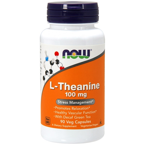 Now Foods, L-teanina, 100 mg, 90 cápsulas vegetarianas