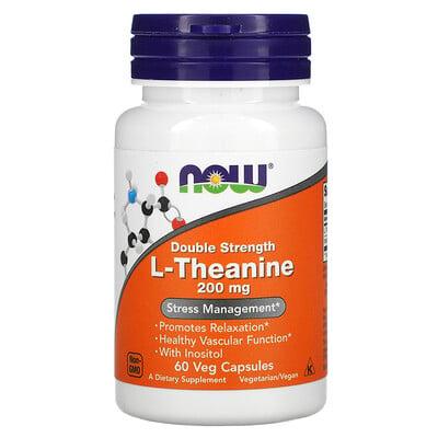 Now Foods L-теанин, двойной концентрации, 200мг, 60растительных капсул
