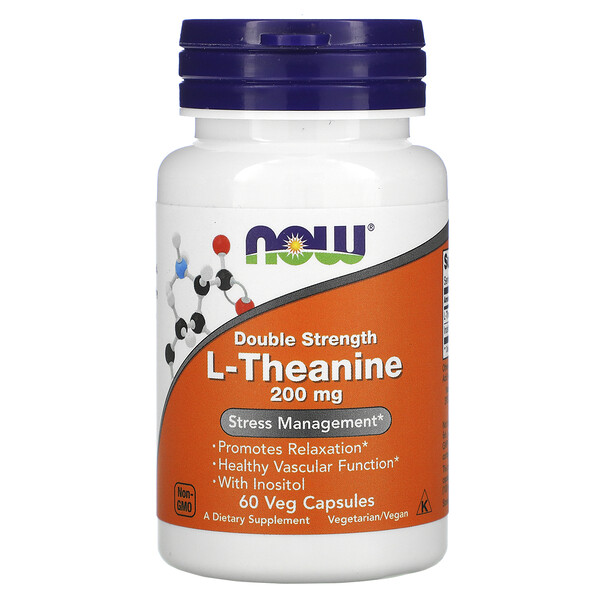 L-Theanine, Double Strength, 200 mg, 60 Veg Capsules