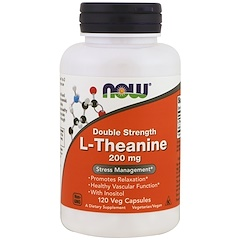 Now Foods, L-Theanine, Double Strength, 200 mg, 120 cápsulas vegetarianas