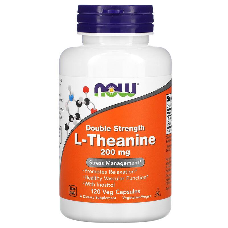 Kosttilskuddet Double Strength L-Theanine fra Now Foods