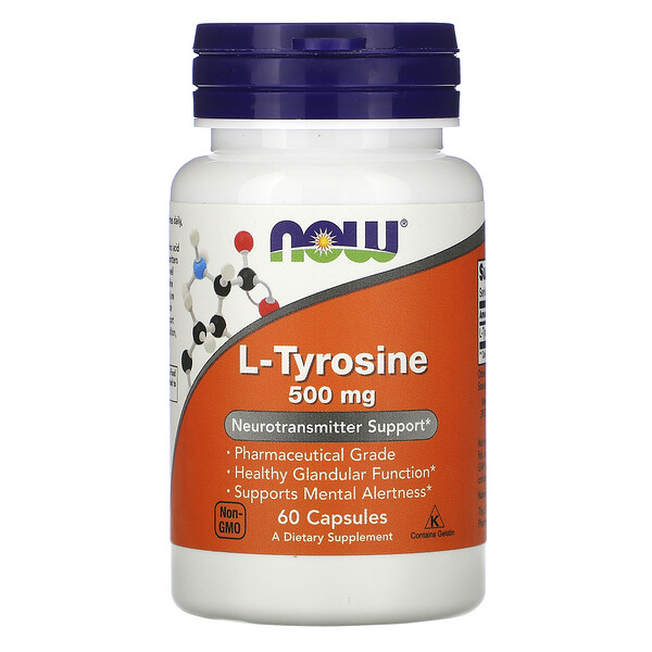 Now Foods, L-Tyrosine, 500 mg, 60 Capsules (Discontinued Item)