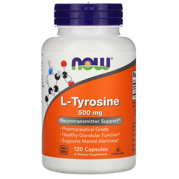 Now Foods, L-Tyrosine, 500 mg, 120 Gélules