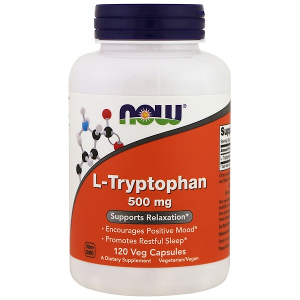 Now Foods, L-Triptófano, 500 mg, 120 cápsulas vegetarianas