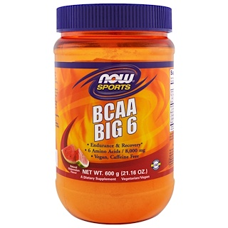 Now Foods, Sports, BCAA Big 6, Natural Watermelon Flavor, 21.16 oz (600 g)