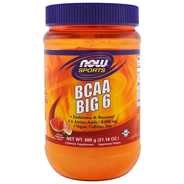 Now Foods, Sports, BCAA Big 6, Natural Watermelon Flavor, 21.16 oz (600 g) (Discontinued Item)