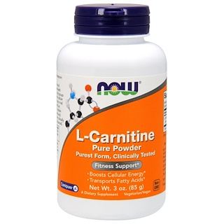 Now Foods, L-carnitina, Pó Puro, 3 oz (85 g)