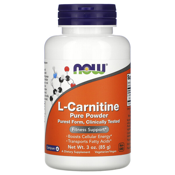 Now Foods, L-Carnitina, Pó Puro, 85 g (3 oz)
