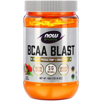 Купить Now Foods Sports, BCAA Blast, Natural Raspberry, 21.16 oz (600 g)